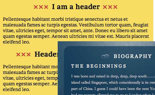 typographic flourish header