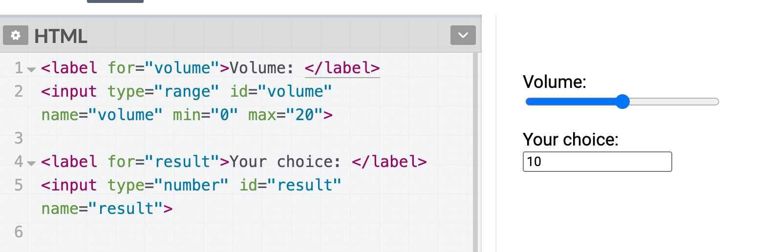 HTML 滑块